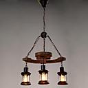 baratos Luzes Pingente-3-luz Industrial Luzes Pingente Luz Descendente Acabamentos Pintados Madeira / Bambu Vidro Estilo Mini 110-120V / 220-240V Lâmpada Não Incluída / E26 / E27