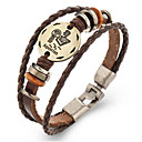 cheap Bracelets-Zodiac Leather Bracelet - Leather Aquarius 1.20 - 2.18 Vintage Bracelet Brown For Gift