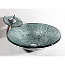 halpa Pesualtaat-Kylpyhuoneen allas Nykyaikainen - Karkaistu lasi Pyöreä Vessel Sink