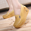 cheap Women's Slip-Ons & Loafers-Women's Shoes Cowhide Spring / Fall Creepers Loafers & Slip-Ons Creepers White / Yellow