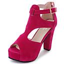 baratos Sandálias Femininas-Mulheres Sapatos Couro Ecológico Verão Conforto Sandálias Caminhada Salto Robusto Dedo Aberto Presilha Preto / Bege / Fúcsia