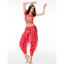 cheap Dance Accessories-Belly Dance Outfits Women's Performance Chiffon Sequin Short Sleeves Dropped Top / Pants / Hip Scarf