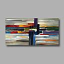 זול ציורי שמן-ציור שמן צבוע-Hang מצויר ביד - מופשט מודרני / סגנון ארופאי כלול מסגרת פנימית / בד מתוח
