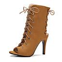 baratos Sapatos de Salto-Mulheres Sapatos Courino Primavera / Verão Conforto Sandálias Salto Agulha Peep Toe Cadarço Azul / Amêndoa / Castanho Claro / Com Laço