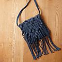 hesapli Omuz Çantaları-Kadın's Çantalar Hasır Omuz çantası için Dış mekan Yaz Beyaz / Siyah / Koyu Mavi