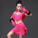 baratos Sapatos de Dança Latina-Dança Latina Vestidos Espetáculo Viscose Cristal / Strass Mocassim Sem Manga Vestido Luvas Neckwear Calções