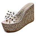 baratos Sandálias Femininas-Mulheres Sapatos Couro Ecológico Primavera / Verão Conforto / botas de desleixo Sandálias Caminhada Salto Plataforma Dedo Aberto Dourado