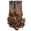 cheap Hair Braids-Hair Piece Curly Wavy Classic Synthetic Hair Hair Extension Clip In Daily