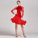 hesapli Dans kostümleri-Latin Dansı Elbiseler Kadın's Performans Dantelalar / Kadife Kırma Dantel / Ayrık Renkler Uzun Kollu Doğal Elbise