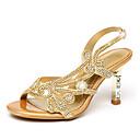 baratos Sandálias Femininas-Mulheres Sapatos Microfibra Verão / Outono Conforto / Inovador / Sapatos clube Sandálias Caminhada Salto Agulha Dedo Aberto Pedrarias /