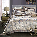 preiswerte Luxus Duvet Covers-Bettbezug-Sets Blumen 4 Stück Stickerei 4-teilig (1 Bettbezug, 1 Bettlaken, 2 Kissenbezüge)