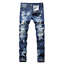 cheap Pins and Brooches-Men's Cotton Slim Jeans Pants - Solid Colored Cut Out