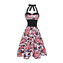cheap Jewelry Sets-Women's Holiday / Beach Vintage Cotton Sheath / Swing Dress - Floral High Rise Halter Neck / Summer / Floral Patterns