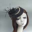 cheap Party Headpieces-Tulle Fascinators / Hats / Birdcage Veils with Feather 1 Event / Party Headpiece