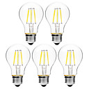 cheap LED Spot Lights-BRELONG® 5pcs 6W 450lm E27 LED Filament Bulbs A60(A19) 6 LED Beads COB Dimmable Warm White White 200-240V