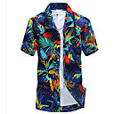 cheap Men's Bracelets-Men's Beach Boho Slim Shirt - Geometric Print Classic Collar / Short Sleeve