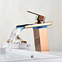 preiswerte Handtuchhalter-Mittellage Wasserfall LED-Anzeige Rotgold, Waschbecken Wasserhahn