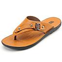 cheap Men's Slippers & Flip-Flops-Men's PU(Polyurethane) Spring / Summer Comfort Sandals Yellow / Dark Brown