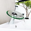 cheap Shower Faucets-Bathroom Sink Faucet - Waterfall Chrome Centerset One Hole / Single Handle One Hole / Brass