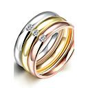 billige Mote Halskjede-Dame Band Ring / Ring / Forlovelsesring - Titanium Stål Enkel Stil, Mote, Brude 6 / 7 / 8 Gull Til Julegaver / Bryllup / Fest / Ringer Set