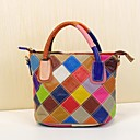 cheap Totes-Women's Bags Cowhide Tote Plaid Rainbow / Black / White