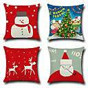 cheap Christmas Decorations-4 pcs Cotton / Linen Pillow Cover / Pillow Case, Novelty / Fashion / Christmas Retro / Traditional / Classic / Euro