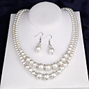 cheap Jewelry Sets-Women's Jewelry Set - Pearl Double-layer Include Bridal Jewelry Sets White For Wedding Party Engagement