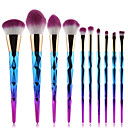 cheap Necklaces-10pcs pro diamond shape makeup brush set powder blusher eyeshadow eyeliner eyebrow lip brush rainbow golden cosmetic tool kits