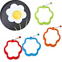 baratos Utensílios de Cozinha-A flor deu forma ao molde do omelette do pequeno almoço do anel do molde do ovo da precipitação do silicone