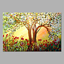 cheap Floral/Botanical Paintings-Oil Painting Hand Painted - Floral / Botanical Artistic Canvas
