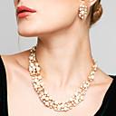 preiswerte Schmuckset-Damen Schmuck-Set - Perle, Strass Europäisch, Modisch, Elegant Einschließen Tropfen-Ohrringe Perlenkette Weiß / Kaffee Für Hochzeit Party Alltag / Halsketten