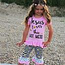 preiswerte Kleidersets für Mädchen-Baby Mädchen Druck Kurzarm Baumwolle Kleidungs Set