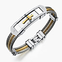 cheap Men's Rings-Men's Bracelet Bangles - Stainless Steel Rock, Gothic, Fashion Bracelet Jewelry Gold / White For Party Birthday Party / Evening Gift Evening Party