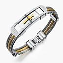 baratos Decorações para Casamento-Homens Bracelete - Aço Inoxidável Rock, Góticas, Fashion Pulseiras Dourado / Branco Para Festa Aniversário Festa / Noite