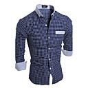 cheap Artificial Flower-Men's Active Plus Size Cotton Slim Shirt - Striped Plaid Standing Collar