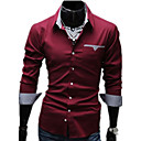 cheap Women's Boots-Men's Work Business Plus Size Cotton Slim Shirt - Solid Colored Basic Classic Collar / Long Sleeve / Spring / Fall