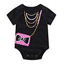 cheap Baby Girls' One-Piece-Baby Girls' Fashion Geometic One-Pieces, Cotton Summer Cartoon Dresswear Short Sleeves Black