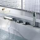cheap Bathtub Faucets-Bathtub Faucet - Contemporary Chrome Widespread Brass Valve