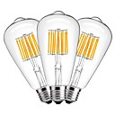 abordables Bombillas LED-3pcs 10W 1000lm E27 Bombillas de Filamento LED ST64 10 Cuentas LED COB Decorativa Blanco Cálido 220-240V