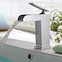 זול מסגרות תלויות לתמונות-מודרני / עכשווי סט מרכזי מפל מים שסתום קרמי חור ידית אחת אחת כרום, חדר רחצה כיור ברז