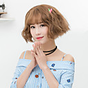 cheap Synthetic Capless Wigs-Synthetic Wig Wavy Bob Haircut With Bangs Gray Brown Women's Capless Halloween Wig Lolita Wig Natural Wigs Short Synthetic Hair