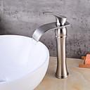 baratos TorneirasSprinkle®-Torneira pia do banheiro - Cascata Níquel Escovado Montagem em Plataforma Monocomando e Uma Abertura