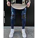 baratos Bijoux de Corps-Homens Moda de Rua Delgado Justas / Skinny Calças - Sólido / Final de semana