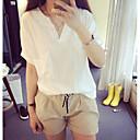 baratos Sandálias Femininas-Mulheres Camiseta Sólido Algodão Decote V
