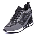 cheap Women's Sneakers-Women's Tulle Spring / Fall Comfort Athletic Shoes Walking Shoes Wedge Heel Round Toe Lace-up Purple / Dark Grey / Light Grey