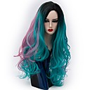 cheap Synthetic Capless Wigs-Synthetic Wig Natural Wave Synthetic Hair Ombre Hair Green Wig Women's Long Capless