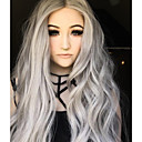cheap Costume Wigs-Synthetic Lace Front Wig Natural Wave Synthetic Hair Ombre Hair Gray Wig Women's Long Lace Front Wig