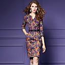 preiswerte Radtrikot und Shorts / Hosen Sets-Damen Übergrössen Ausgehen Hülle Kleid - Druck Übers Knie V-Ausschnitt