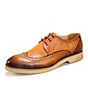 levne Pánské oxfordky-Pánské Obuv Kůže Léto / Podzim Společenské boty Oxfordské Chůze Černá / Hnědá / Červená / Party / Bullock Shoes