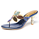 baratos Sandálias Femininas-Mulheres Sapatos Micofibra Sintética PU Verão / Outono Conforto / Inovador Sandálias Caminhada Salto Baixo Ponteira Pedrarias Preto / Azul